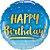 Balão Metalizado Aniversário Ouro & Azul - 18'' - 1 Unidade - Qualatex - Rizzo festas - Imagem 1