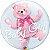 Balão Double Bubble Transparente Ursinho Rosa Baby Girl - 24'' 61cm - Qualatex - Rizzo festas - Imagem 1