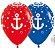 Balão de Festa Latex R12'' 30cm - Fashion Náutico Composê - 60 unidades - Sempertex Cromus - Rizzo Festas - Imagem 1