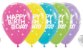 Balão de Festa Latex R12'' 30cm - Fashion Happy Birthday Cupcake Sortido - 60 unidades - Sempertex Cromus - Rizzo Festas - Imagem 1