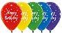 Balão de Festa Latex R12'' 30cm - Fashion Happy Birthday Radiante Sortido - 60 unidades - Sempertex Cromus - Rizzo Festas - Imagem 1