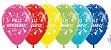 Balão de Festa Latex R12'' 30cm - Fashion Feliz Aniversário Gorro Sortido - 60 unidades - Sempertex Cromus - Rizzo Festas - Imagem 1