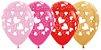 Balão de Festa Latex R12'' 30cm - Fashion e Metal Corações Sortidos - 12 unidades - Sempertex Cromus - Rizzo Festas - Imagem 1