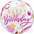 Balão Bubble Transparente Aniversário Rosa e Pontos Dourados - 22'' 56cm - Qualatex - Rizzo festas - Imagem 1