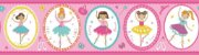 Papel de Parede Infantil Treasure Hunt - Faixa 0,176m x 5m Fundo Rosa com Bailarinas TH-68191 - Imagem 1