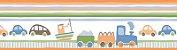 Papel de parede Borda Nido Infantil 8751-1 Carros, Trem Laranja, Verde Cores - Imagem 1
