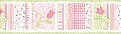 Papel de parede Borda Nido Infantil 8752-1 Floral Listrado Rosa e Verde - Imagem 1