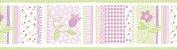 Papel de parede Borda Nido Infantil 8752-2 Floral Listrado Lilas e Verde - Imagem 1