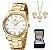 Relógio Feminino Champion Dourado Com Semi Jóia - Imagem 1
