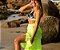 Saída de Praia Saia em Chiffon Longa Transpassada Amarelo Limão Neon com Transparência - Imagem 1