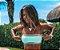 Biquíni Top Faixa com Tule Verde Tiffany - Peça Avulsa - Imagem 1