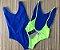 Body Side Boob Alcinhas Sem Bojo Reversível Azul com Amarelo Limão Neon  - Imagem 2