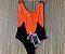 Body Side Boob Alcinhas Sem Bojo Reversível Preto com Laranja Neon  - Imagem 3