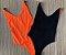 Body Side Boob Alcinhas Sem Bojo Reversível Preto com Laranja Neon  - Imagem 4