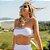 Biquíni Top Faixa com Tule Branco Canelado - Top Lorena - Imagem 1