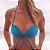 Biquíni Top Drapeado com Bojo Removível -  Azul Enseada Canelado - Top Paty - Imagem 1