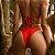 Biquíni com Lacinho e Tira Fina com Elástico e Efeito Empina Bumbum Canelado Vermelho - Bottom Ari - Imagem 2