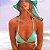 Top de Biquíni Cortininha Fixo com com Bojo e Tira Removível - Verde Tiffany - Top Gisele - Imagem 1