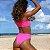 Calcinha de Biquíni Cintura Alta Asa Delta Rosa Neon, Hot Pants, Modelo Cloe - Imagem 2