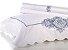 Jogo de Cama Queen - Camões Branco com Bordado Azul - Buddemeyer Luxus - Imagem 1