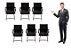 Kit 6 Cadeiras Secretária Giratória Esteirinha Charles Eames - Imagem 1