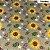 Tricoline Girassóis Castanho com Florzinha Branca 50cm x 1.50m largura - Imagem 1