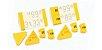 """Ponteira Dupla para Displays de Mesa + Palavras """"DE"""" e """"POR"""" (60 peças) - Amarelo com preto - Imagem 1"""