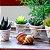 Kit 4 Vasos de Porcelana e Suporte de Ferro Mini Dots - Imagem 2