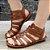 Sandália retrô em couro gladiadora 12176-5 - Imagem 1