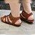 Sandália retrô em couro gladiadora 12176-5 - Imagem 3
