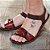 Sandália em couro New Life café\vermelho p4040 - Imagem 3