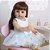 Bebê reborn cabelo comprido, 100% silicone  55cm vestido azul - Imagem 1
