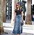 Saia Jeans Longa Felino Azul Moda Evangelica - Imagem 2