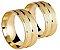 Par Aliança Fosca - 3 Camadas Ouro 18K - Imagem 2