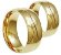 Par Aliança Onda - 3 Camadas Ouro 18K - Imagem 2