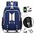 Mochila de Kpop BTS - Duas Cores (com entrada USB para Carregador & Fone) - Imagem 2