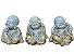 Trio de Budas Sabedoria em po de marmore Cinza e Dourado - Imagem 1