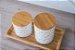 Potiche Cerâmica Granilite com Tampa Bambu Branco 10cm 8675 - Imagem 4