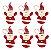 Kit 6 Bonecos Papai Noel Tecido Pendente 21cm Enfeite Para Árvore Natal - Imagem 1