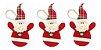 Kit 3 Bonecos Papai Noel Tecido Pendente 21 cm Enfeite Para Árvore Natal - Imagem 1