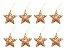 Kit 8 Estrelas Vazada Dourada Com Glitter 8cm Pendente Natal - Imagem 1