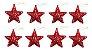 Kit 4 Estrelas Vermelha Com Glitter Vazada 8cm Pendente Natal - Imagem 3