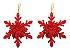 Kit 6 Flocos De Neve Folha Glitter Vermelho 12cm Pendente Enfeite De Natal - Imagem 5
