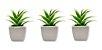 Jogo Com 3 Mini Vasos Porcelana Planta Artificial Suculenta Decoração - Imagem 1