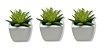 Jogo Com 3 Vasos De Porcelana Planta Suculenta Artificial Decoração - Imagem 1