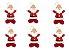 Kit 6 Enfeite Natal Pendente Boneco Xadrez Botão Papai Noel - Imagem 1