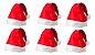 Kit 6 Touca Gorro De Papai Noel 100% Feltro 28x40 Cm - Imagem 1