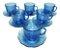 Jogo Com 6 Xícaras De Vidro E Pires 200ml Café Chá  Azul - Imagem 3