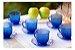 Jogo Com 6 Xícaras De Vidro E Pires 200ml Café Chá  Azul - Imagem 2