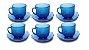 Jogo Com 6 Xícaras De Vidro E Pires 200ml Café Chá  Azul - Imagem 1
